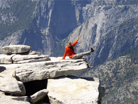 Grace and perserverance deliver Monique to the top of Half Dome in Yosemite.